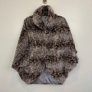 Lindi Sz S faux fur jacket collard womens